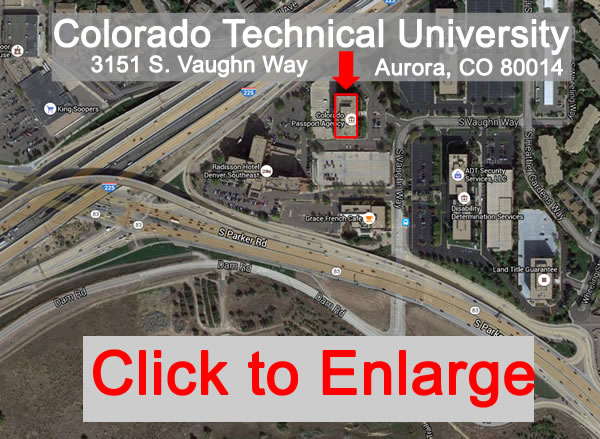 Clickable map to George Sutton Toastmasters club meeting location at 3151 S. Vaughn Way, Aurora, CO 80014