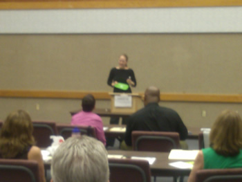 Ina Michelsen presenting at Aurora's annual Toastmasters open house meeting