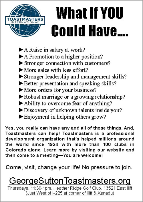 Toastmasters Flyer - What if You Could Have