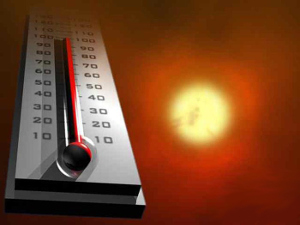 Thermometer in the summer heat