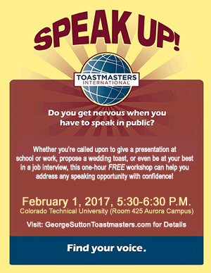 Free Public Speaking Workshop in Aurora Colorado February 1, 2017