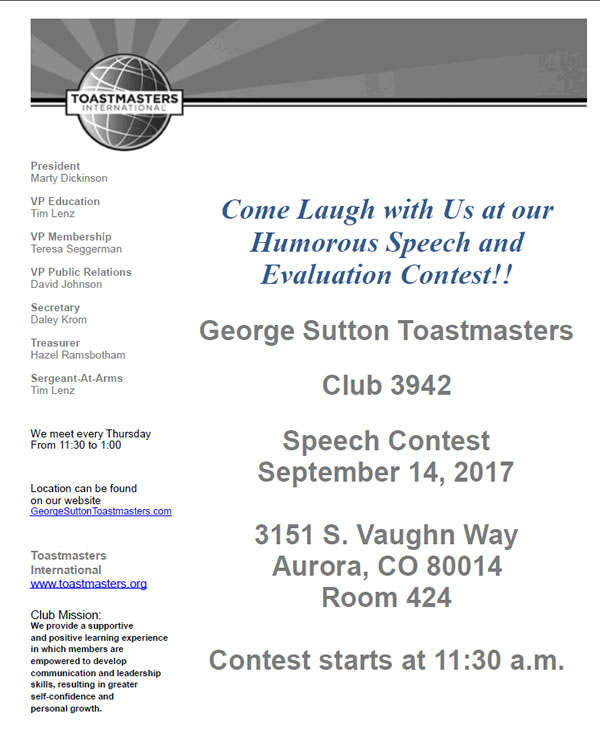 Toastmasters contest flyer 2017 humorous speech and evaluation contest.